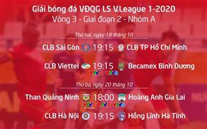 Lịch thi đấu và trực tiếp vòng 3 giai đoạn 2 V.League 2020: Cơ hội cho CLB Hà Nội, HAGL gặp khó