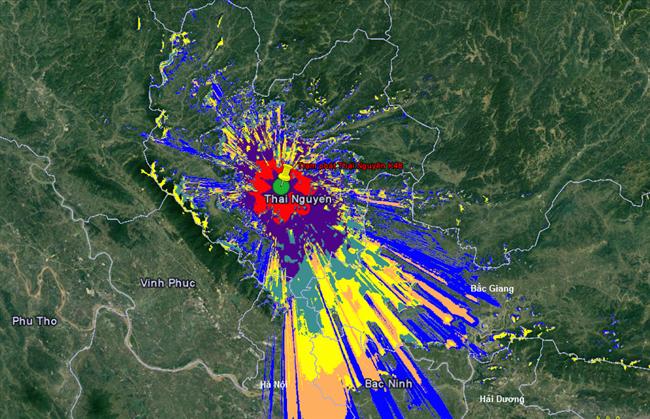 Bản đồ DVB T2 tại Thái Nguyên