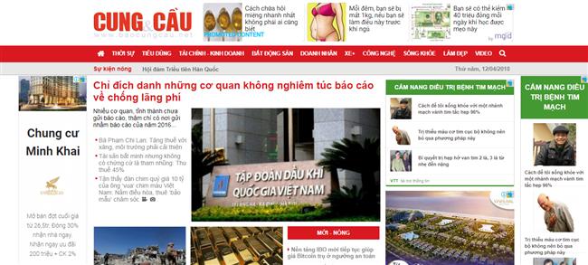 Trang tin điện tử baocungcau.net bị xử phạt vì sản xuất tin, bài như báo điện tử