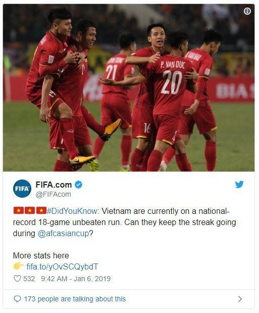 FIFA ghi nhận kỷ lục 18 trận bất bại của ĐT Việt Nam