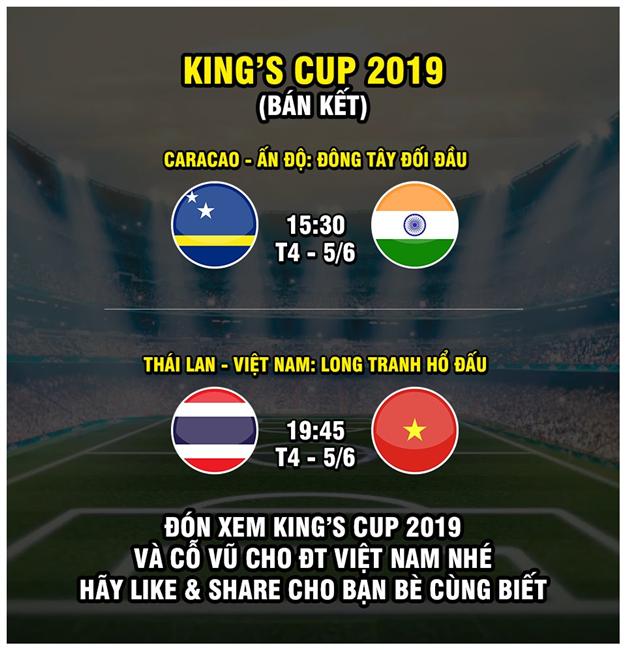Mới nhất: VTV5 và tất cả các kênh tiếp sóng trực tiếp 2 trận đấu của ĐT Việt Nam tại King' Cup 2019