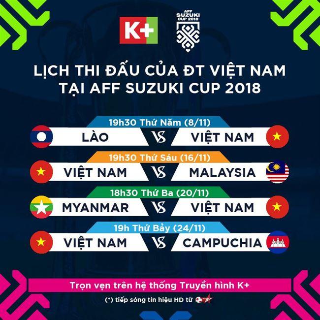 K+ phát sóng toàn bộ giải AFF Cup 2018 trên các kênh thể thao