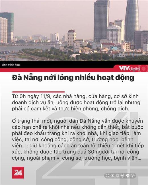 Tin nóng đầu ngày 11/9: Đà Nẵng mở lại dịch vụ ăn uống, giá xăng có thể giảm nhẹ