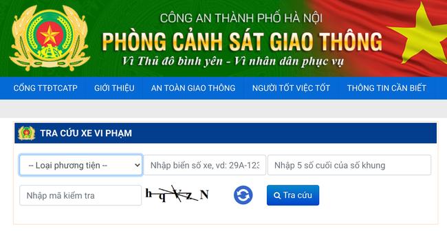 Tra cứu xe vi phạm trên cổng thông tin điện tử Công an thành phố Hà Nội