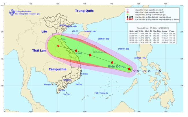 Áp thấp nhiệt đới mạnh lên thành bão số 5 mạnh cấp 8, giật cấp 10