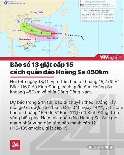 Tin nóng đầu ngày 13/11: Bão số 13 giật cấp 15 hướng vào Hoàng Sa