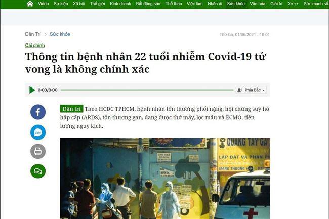 Phạt 1 báo điện tử 50 triệu đồng vì đưa tin sai sự thật liên quan đến Covid-19