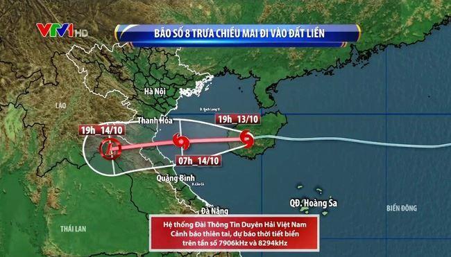 Đêm nay (13/10), tâm bão số 8 sẽ đi vào Vịnh Bắc Bộ