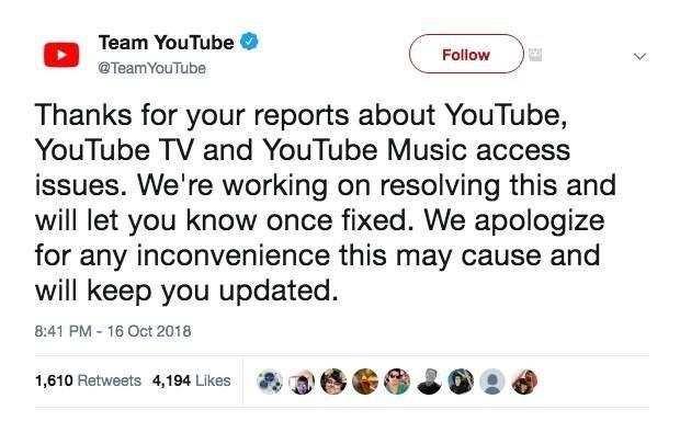 YouTube bị lỗi, nhiều khả năng do YouTube đang update tính năng mới
